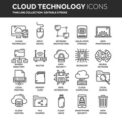 Cloud omputing. Internet technology. Online services. Data, information security. Connection. Thin line black web icon set. Outline icons collection.Vector illustration.