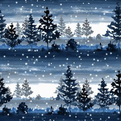 Seamless pattern with winter forest. Watercolor landscape 7