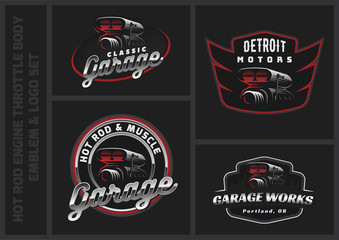 Set of car air intake and throttle body illustration logo, emblems or badges.