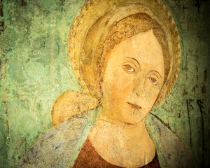 Fresco of a Madonna with a child of the 13th century