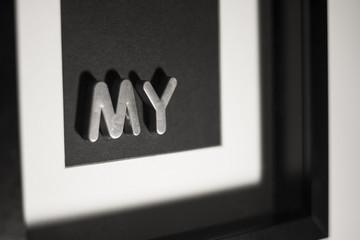 Obraz 3d z napisem srebrnym my
