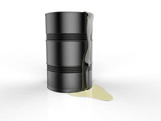 black barrels with spilled oil 3d rendering