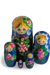 Matryoshka doll game closeup on isolated white background. Matryoshka doll is a Russian traditional game, one babushka include others, children disassembly all the babushkas.