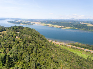 Aerial view of Columbia river, Oregon