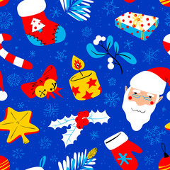 Winter seasonal background. Christmas seamless pattern with bright decoration objects and Santa Claus