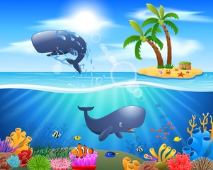 Cartoon sperm whale jumping in blue ocean background. vector illustration