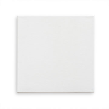 White canvas frame mock up template square size isolated on white background with clipping path for arts painting and photo hanging interior decoration