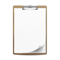 Clipboard Vector. A4 Size. Top View. Blank Sheet Of Paper. Isolated On White Background Illustration