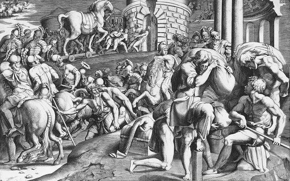 Engraving depicting the entrance of the wooden horse to Troy