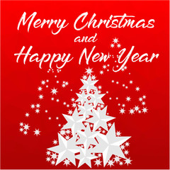 Marry Christmas and Happy New Years. Red Polygon background with Christmas Tree made of stars.