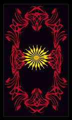 Tarot cards - back design, Yellow flower