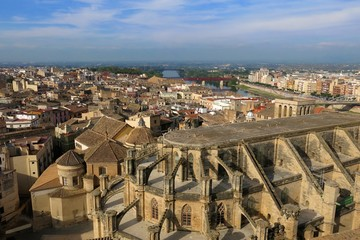 Tortosa, Catalonia, Spain skyline from above with Cathedral of Saint Mary and River Ebro on horizon