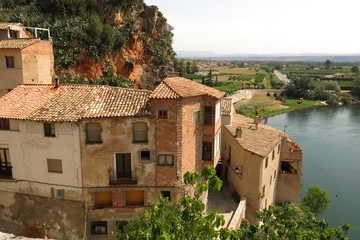 Miravet, Catalonia, Spain medieval buildings viewed from above Ebro River