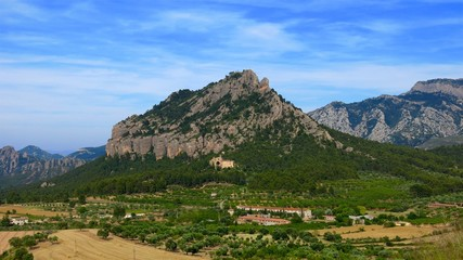 Santa Barbara Mountain and Saint Salvador d'Horta monastery Convent of Angels, Horta de Sant Joan, Catalonia, Spain