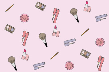 Vintage pattern with cosmetic icons. Beauty makeup hand drawn icon doodle illustration.