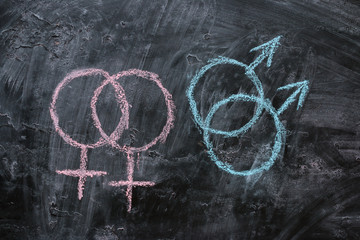 Gender symbols of female and male homosexuality