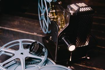 Vintage film projector turned on