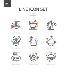 Cooking line icon set