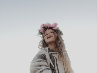 Happy Girl with Flower Crown