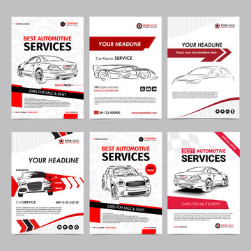 Auto repair Services business layout templates set, automobile magazine cover, auto repair shop brochure, mockup flyer. Vector illustration.