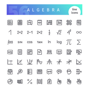 Algebra Line Icons Set