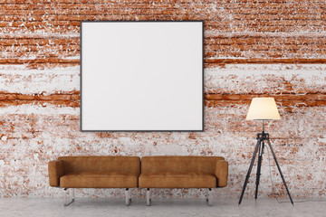 Modern brick living room with empty poster
