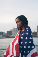 Beautiful Woman With American Flag