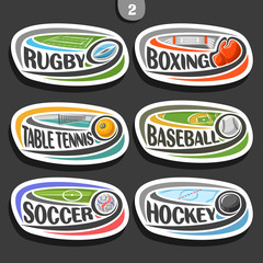 Vector set of sport logos, 6 oval simple badges with flying ball on curved trajectory, sports signs of minimal design with games equipment, original typography for words of different kind of sport.