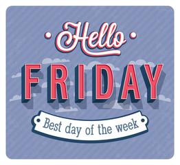 Hello Friday typographic design.