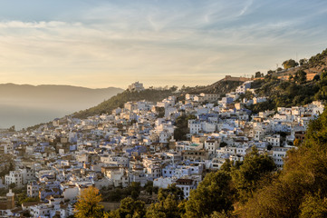 Sunset over Chefchaouen, Morocco.