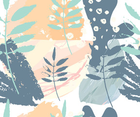 Abstract seamless pattern. Hand drawn textures . Brushstrokes in pastel colors and tree branches.Vector.  Covers, Flyers, banners, presentations, books, notebooks.