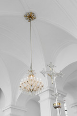 Elegant Chandelier on White Church Ceiling