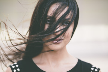 beautiful woman  with wind