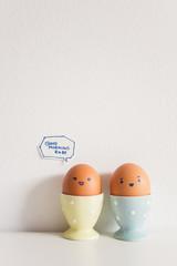 "Eggs couple saying ""GOOD MORNING BABE"""