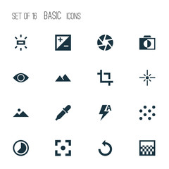 Picture Icons Set. Collection Of Eyesight, Mode, Brightness And Other Elements. Also Includes Symbols Such As Pipette, Decorative, Capture.