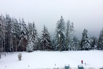 TOP of view parking lot, garden and trees covered with snow during july snowfall in Bariloche - Argentina