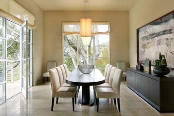 Dining room of luxury modern design home in California