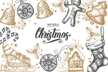 "Christmas background with hand drawn golden doodle holly,bells,gingerbread,sleigh and christmas sock.Hand made quote ""Merry Christmas Happy New Year"". Sketch. Vector. Banner, poster, flyer, brochure."