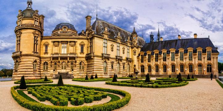 Romantic beautiful castle Chateau de Chantilly. Royal residence. France