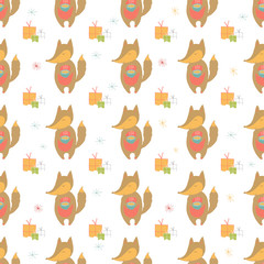 Seamless holiday pattern with fox and presents.