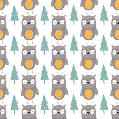 Seamless holiday pattern with forest and owl.