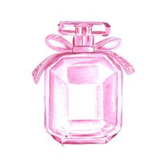 Pink perfume bottle watercolor illustration fashion clipart
