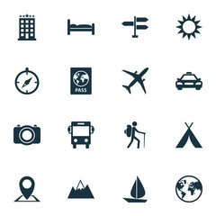 Journey Icons Set. Collection Of Sunny, Transport, Certificate And Other Elements. Also Includes Symbols Such As Man, Hill, Taxi.
