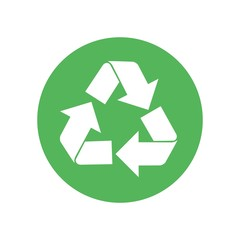 Recycle logo flat icon. Vector illustration