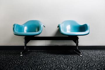 Two Blue Retro Airport Bucket Seats