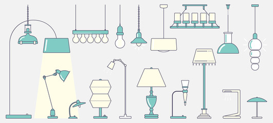 A large set of lamps. Ceiling light, floor and table lamps. Big set. Flat stroke design Vector illustration