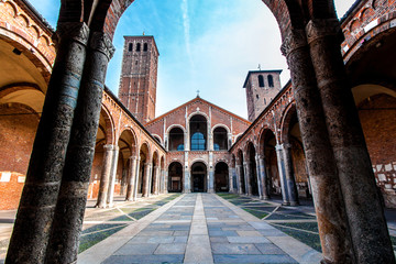 The Basilica of Sant'Ambrogio in Milan, Italy