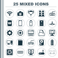 Computer Icons Set. Collection Of Wireless, Battery, Connected Devices And Other Elements. Also Includes Symbols Such As Printer, Vga, Chip.