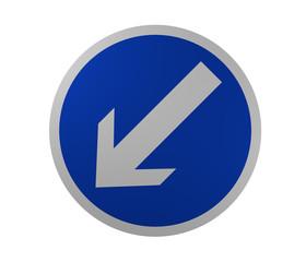 Verkehrszeichen: Vorgeschriebene Fahrtrichtung, links vorbei