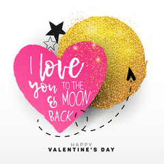 """Modern, paper cut Valentine's Day background, banner, card, layout, template. Paper cut heart, golden moon with gold glitter, hand drawn arrow, stars and lettering """"I love you to the moon and back"""""""
